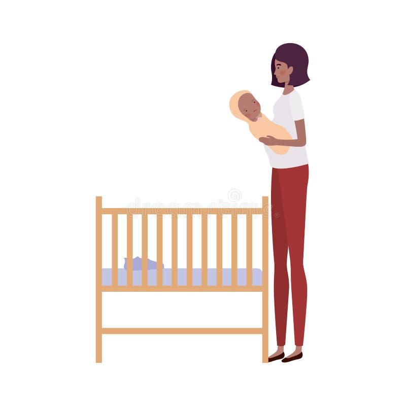 Jonge vrouw met pasgeboren baby stock illustratie