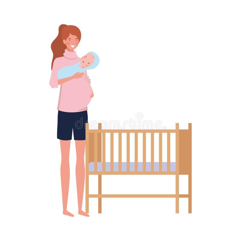 Jonge vrouw met pasgeboren baby royalty-vrije illustratie