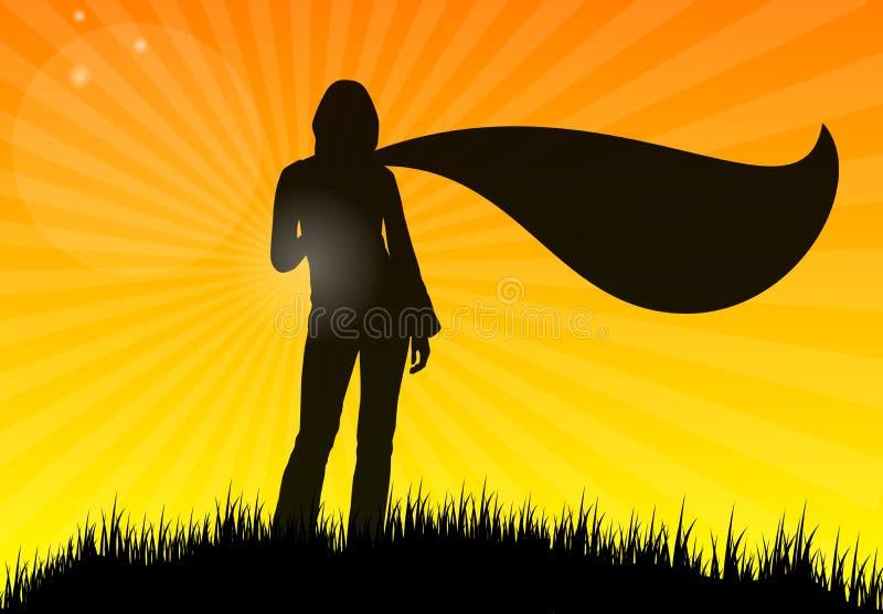 Jonge vrouw met sjaal op gras, silhouet stock illustratie