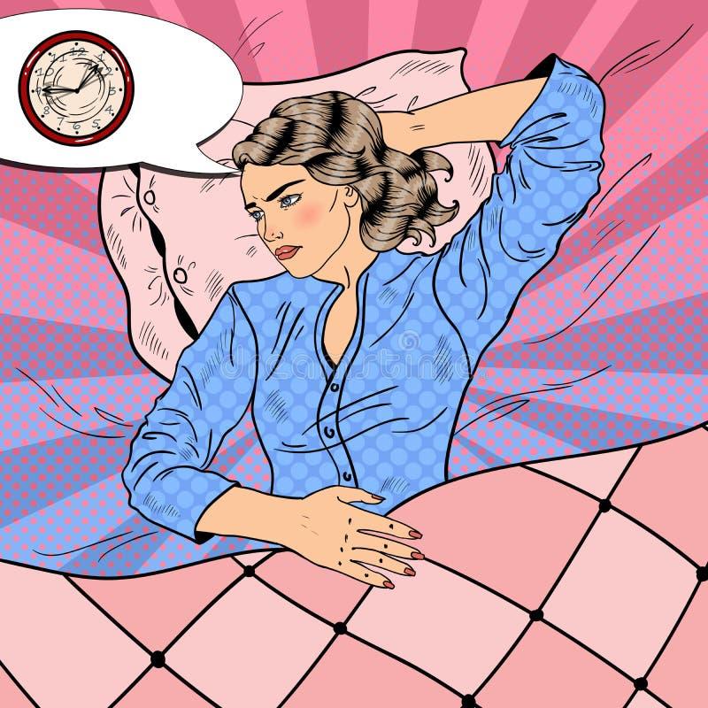 Jonge Vrouw met Slapeloosheid die in Bed liggen Pop-art retro illustratie royalty-vrije illustratie