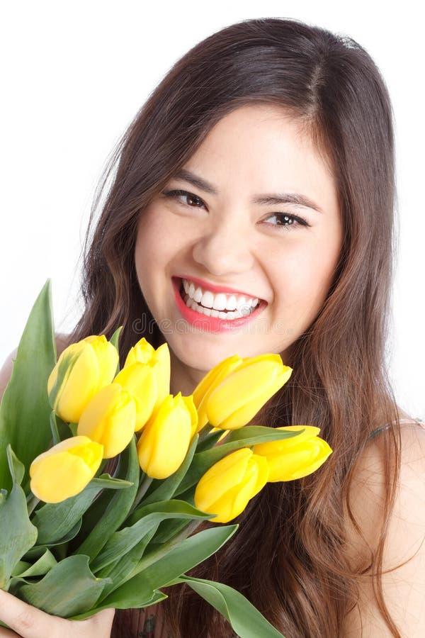 Jonge Vrouw met Tulpen royalty-vrije stock foto