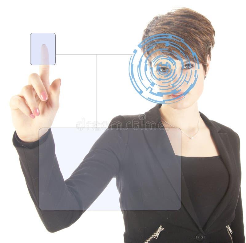 Jonge vrouw met van de veiligheidsiris en vingerafdruk geïsoleerd aftasten stock foto