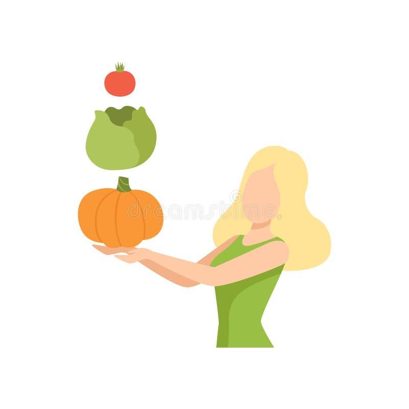 Jonge vrouw met verse groenten, het gezonde eten, dieet, de organische vectorillustratie van het veganistvoedsel vector illustratie