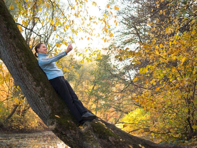 Jonge vrouw met vlechten die zich op die een boom bevinden en fotograferen zich tegen royalty-vrije stock fotografie