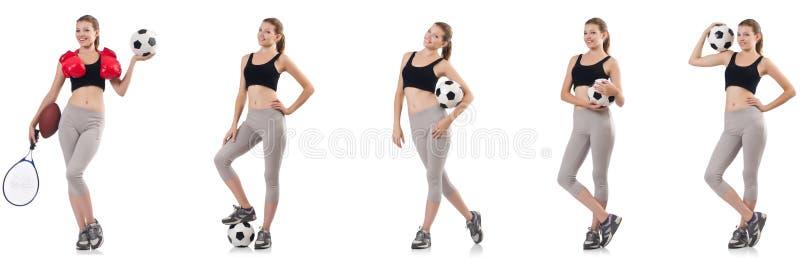 Jonge vrouw met voetbal, rugbybal, bokshandschoenen en tennis stock foto's