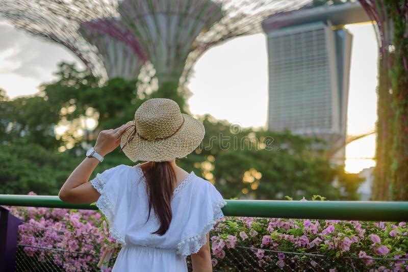 Jonge Vrouw met witte kleding reizen en hoed, Aziatische reiziger die aan supertree naar tuinen door de baai in Singapore kijken  stock foto's