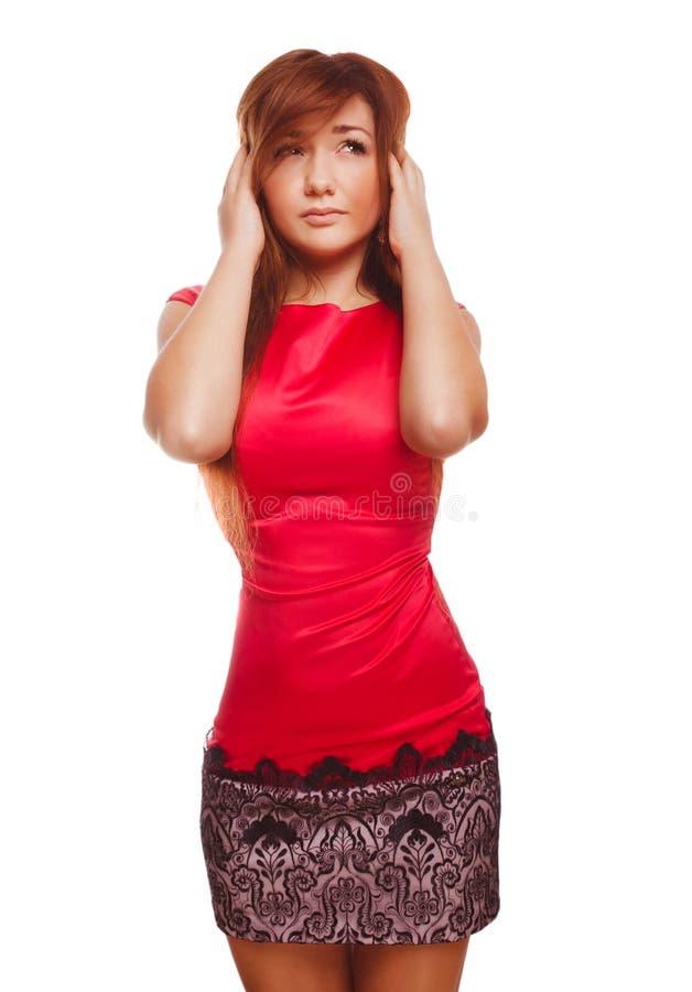 Jonge vrouw onder de pijnmigraine van de spanningshoofdpijn royalty-vrije stock afbeeldingen