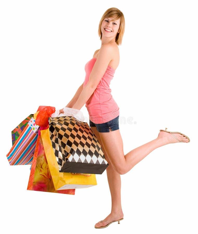 Jonge Vrouw op een Aanval van koopwoede royalty-vrije stock afbeelding