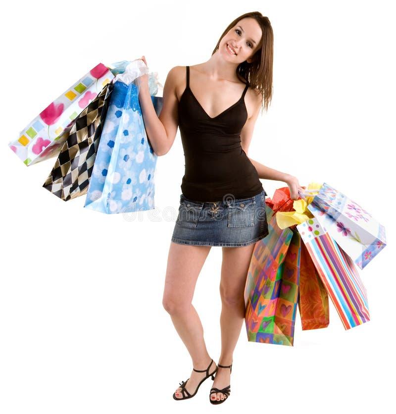 Jonge Vrouw op een Aanval van koopwoede stock afbeelding