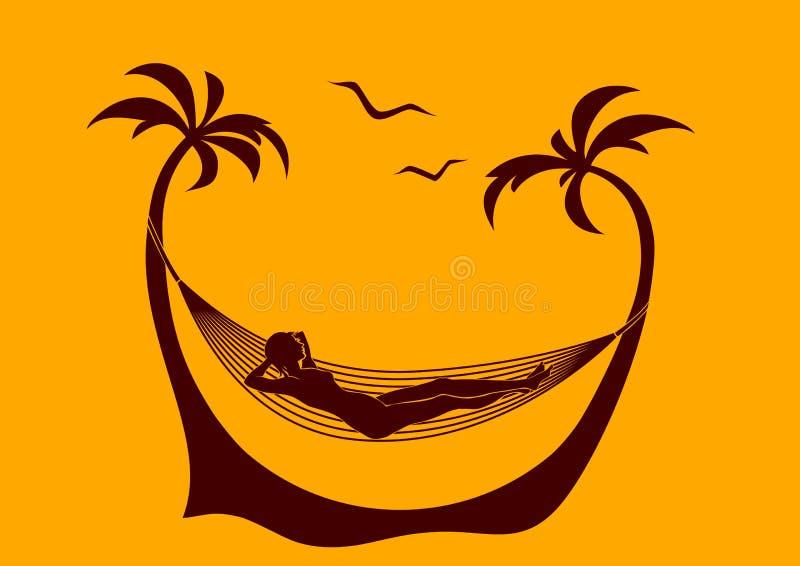 Jonge vrouw op het strand royalty-vrije illustratie