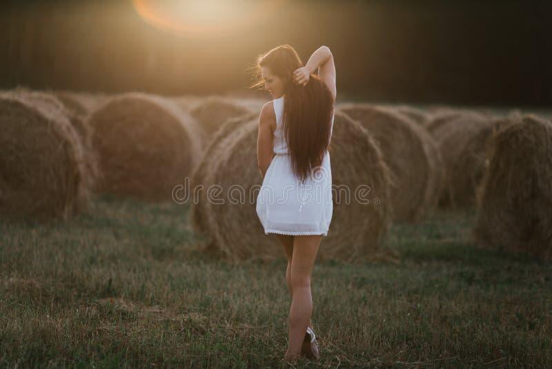 Jonge vrouw op zonsopganggebied stock foto