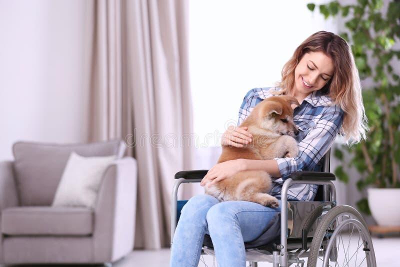 Jonge vrouw in rolstoel met puppy royalty-vrije stock afbeelding
