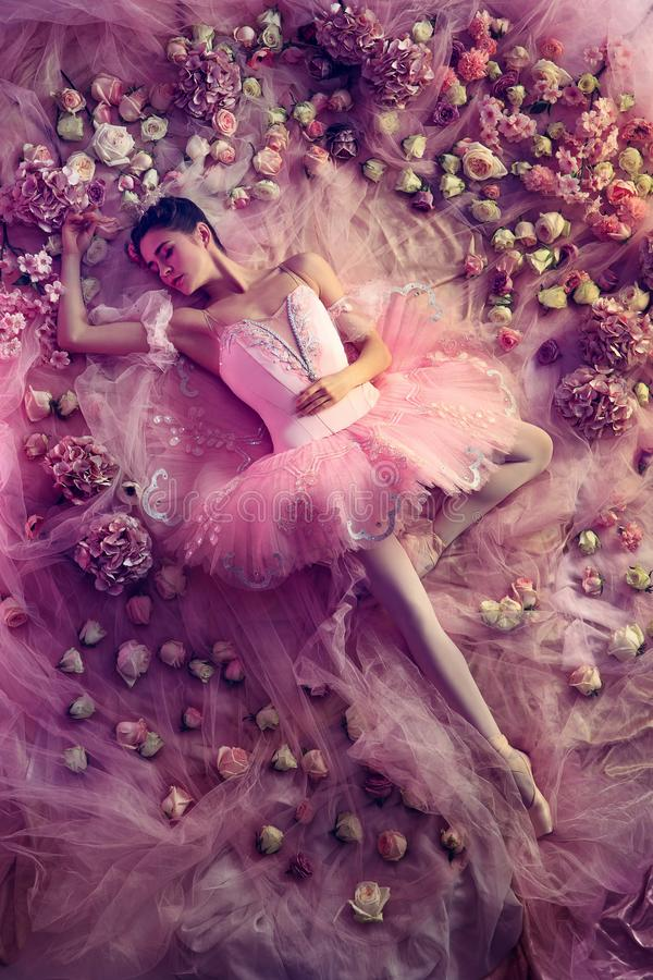 Jonge vrouw in roze die ballettutu door bloemen wordt omringd royalty-vrije stock foto