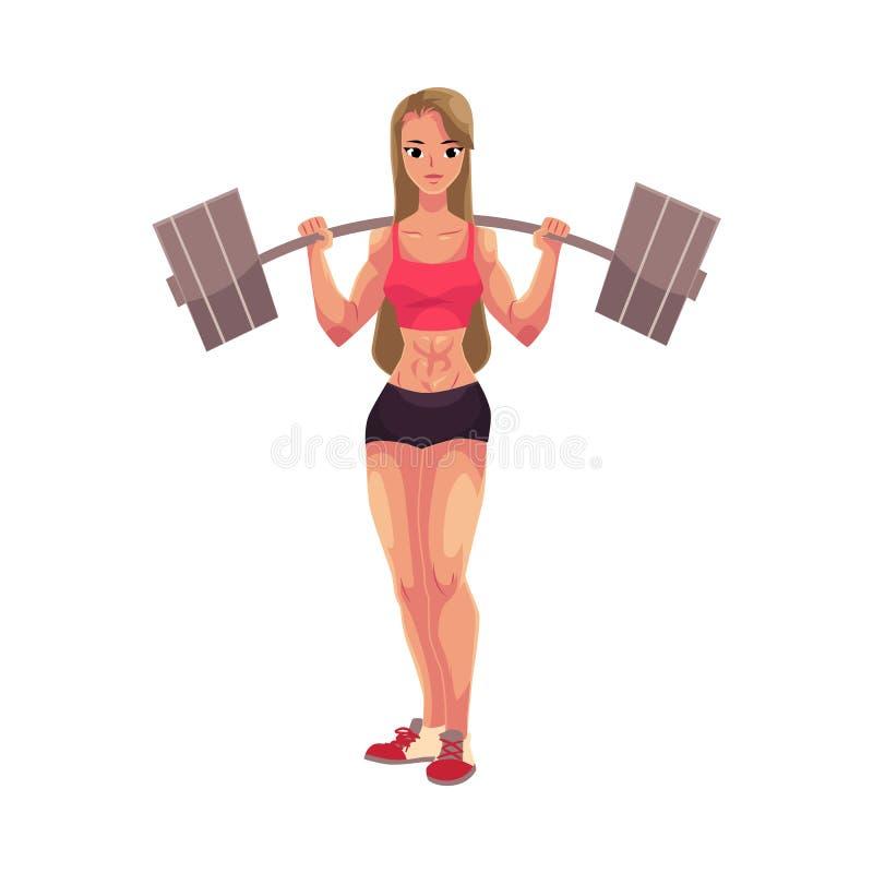 Jonge vrouw, vrouwelijke bodybuilder, weightlifter uitwerkend met barbell royalty-vrije illustratie