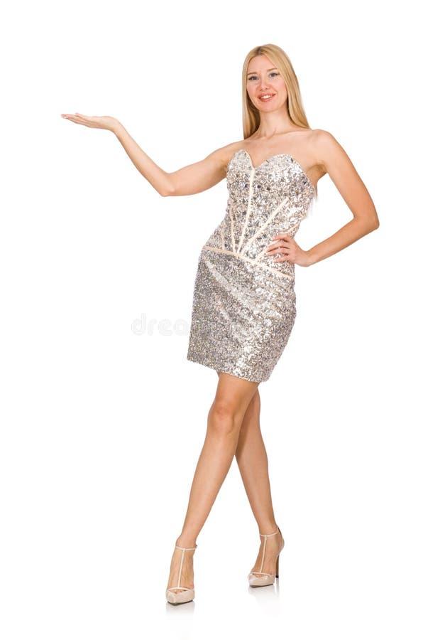 Jonge vrouw in zilveren die kleding op wit wordt geïsoleerd stock foto