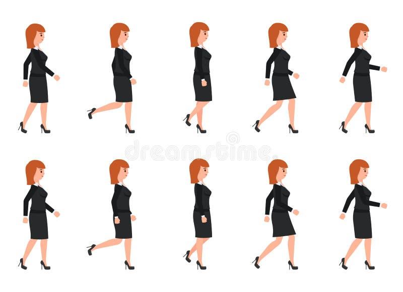 Jonge vrouw in zwarte kostuum het lopen opeenvolging Vectorillustratie van de bewegende persoon van het beeldverhaalkarakter vector illustratie