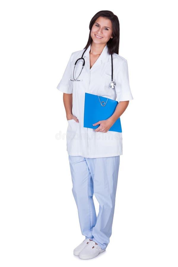 Jonge vrouwelijke arts of verpleegster royalty-vrije stock afbeelding
