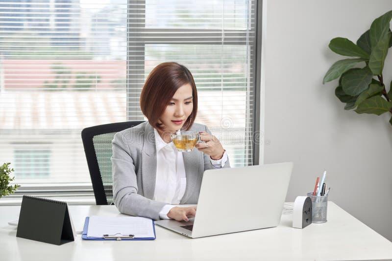 Jonge vrouwelijke bedrijfseigenaar bezig het werken bij bureau in bureau royalty-vrije stock fotografie