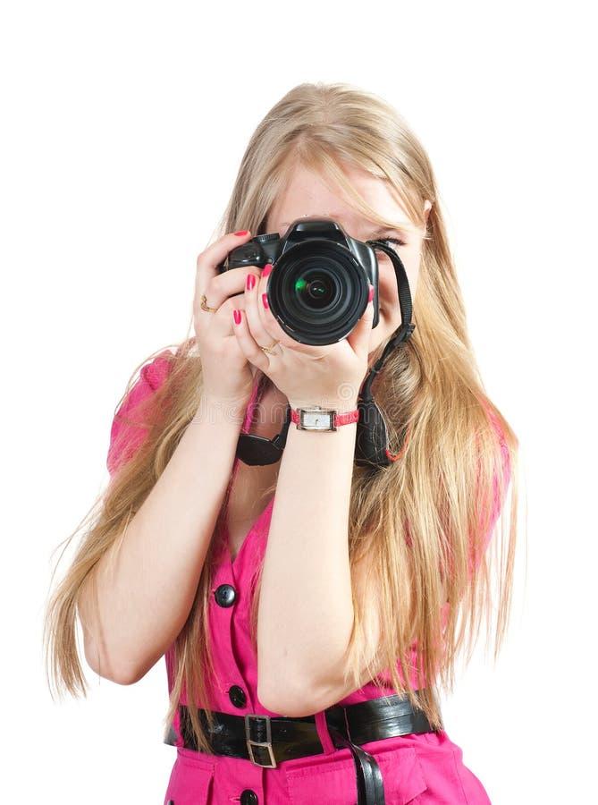 Jonge vrouwelijke fotograaf royalty-vrije stock foto