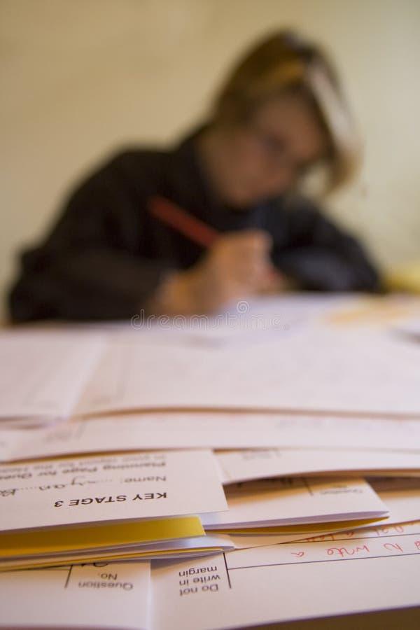 Jonge vrouwelijke leraar die examens merkt. royalty-vrije stock afbeelding