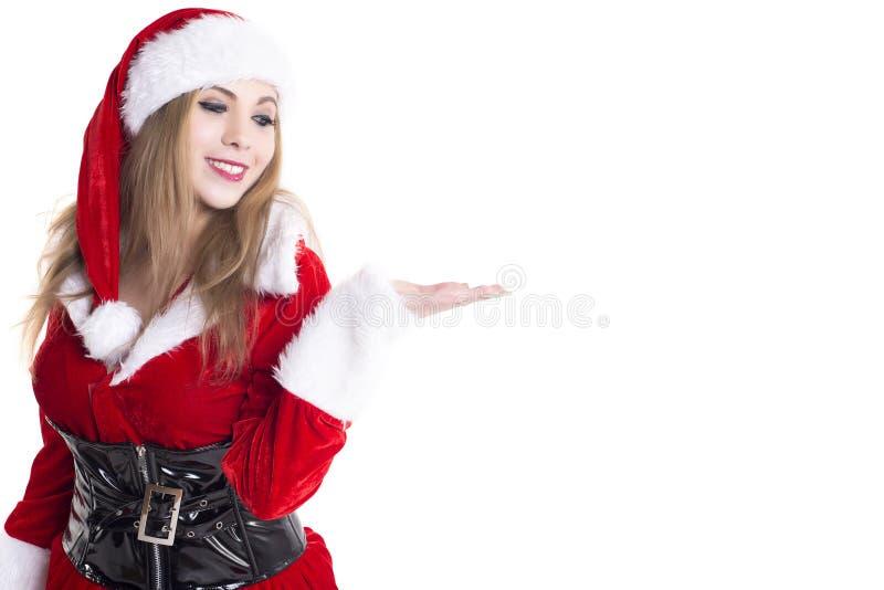 Jonge Vrouwelijke Santa Presenting stock foto