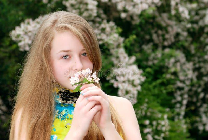 Jonge vrouwelijke tiener ruikende bloemen in een tuin stock afbeeldingen