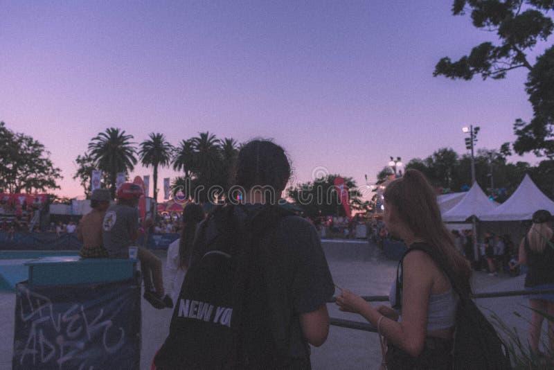 Jonge vrouwelijke vrienden bij een park stock fotografie
