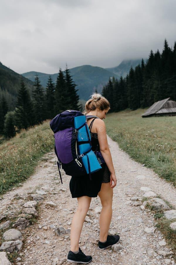 Jonge vrouwelijke wandelaar in poetsmiddelbergen royalty-vrije stock afbeelding