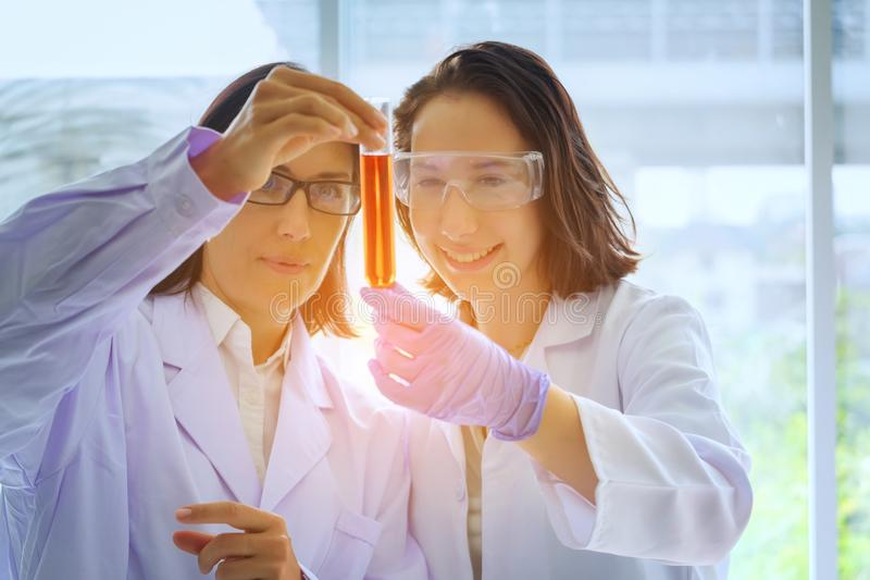 Jonge vrouwelijke wetenschapper die zich met techer in laboratoriumarbeider het maken bevinden stock foto's