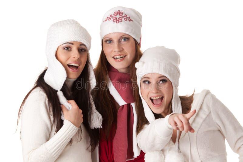 Jonge vrouwen in de winterkleren. royalty-vrije stock foto's