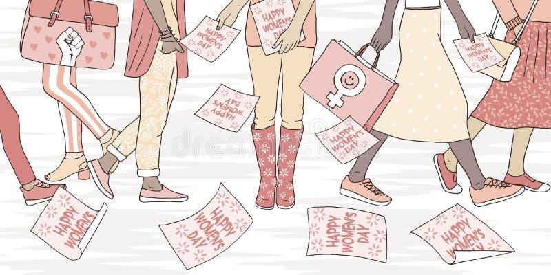 Jonge vrouwen die in de straat op de dag van internationale vrouwen lopen vector illustratie