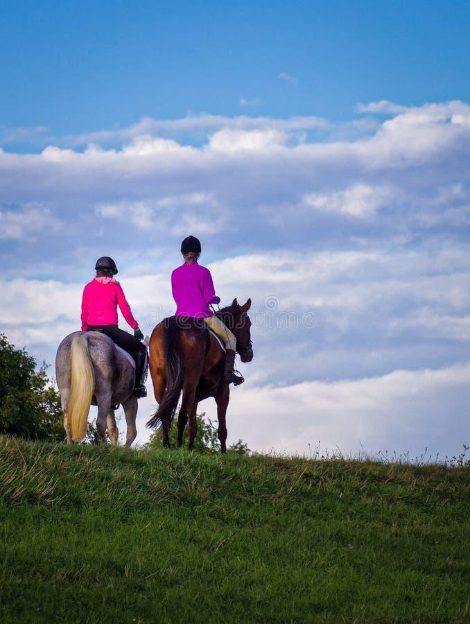 Jonge Vrouwen die Paarden berijden stock fotografie