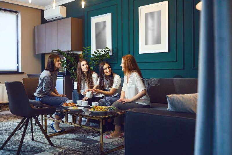 Jonge vrouwen die theekransje hebben thuis royalty-vrije stock foto's