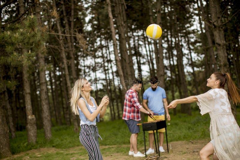 Jonge vrouwen die volleyball op picnik in de lenteaard spelen stock afbeeldingen