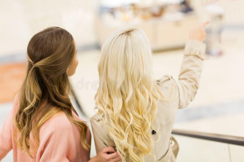 Jonge vrouwen die in wandelgalerij vinger richten aan iets stock afbeelding