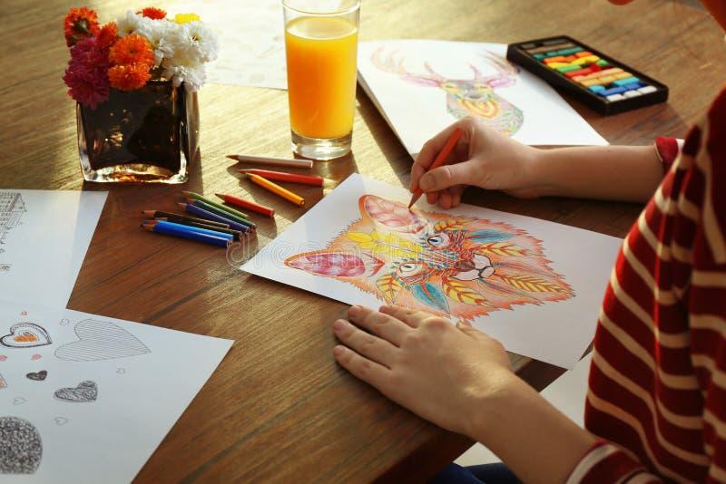 Jonge vrouwen kleurende beelden voor volwassenen stock afbeeldingen