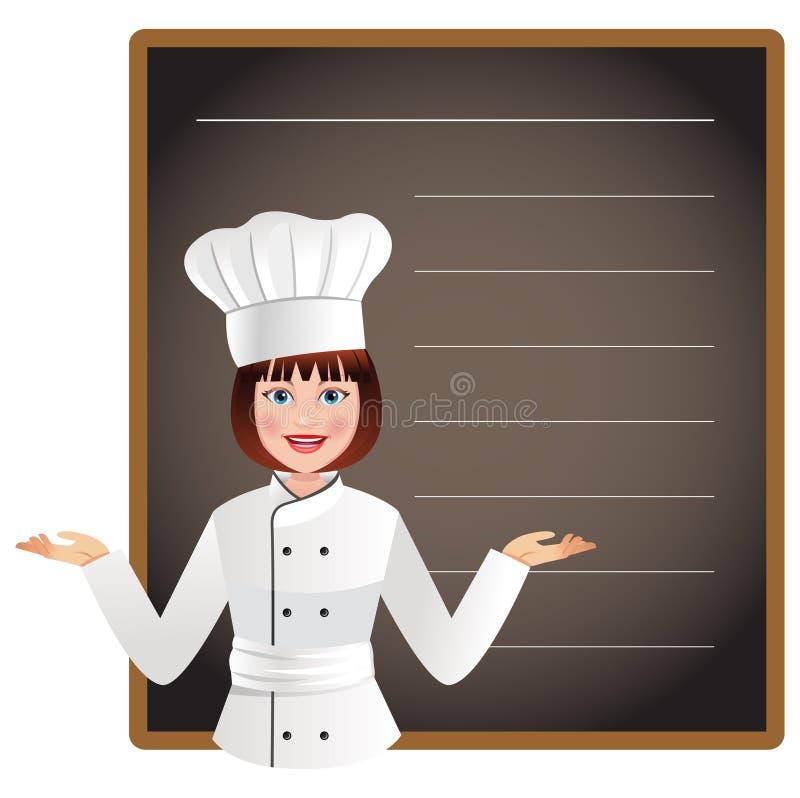 Jonge vrouwenchef-kok met een leeg bord om van het menu van vandaag een lijst te maken vector illustratie