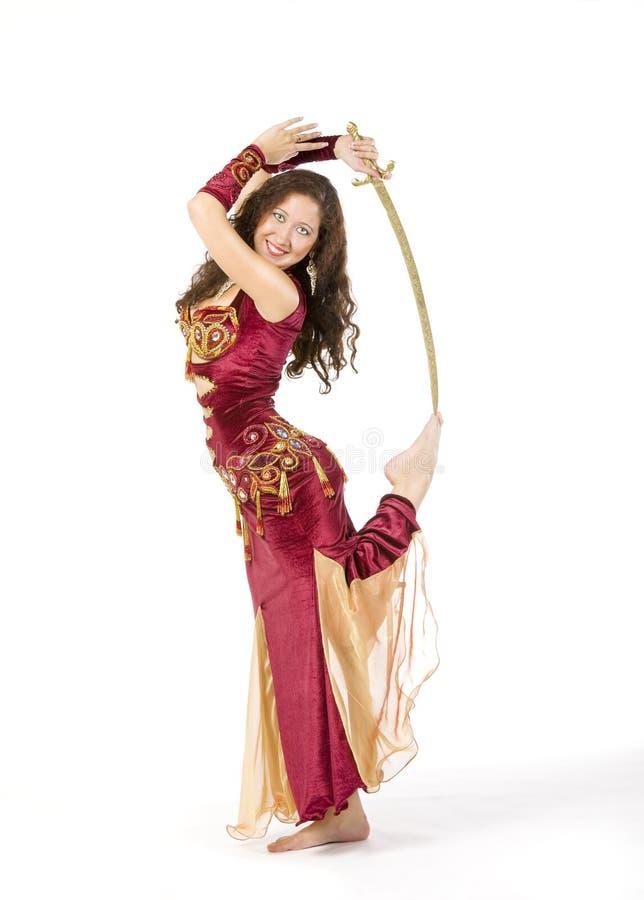 Jonge vrouwendans met zwaard stock afbeelding