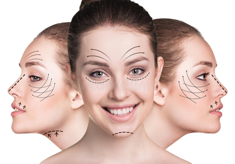 Jonge vrouwengezichten met het opheffen van pijlen royalty-vrije stock foto's