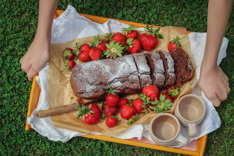 Jonge vrouwenhanden die een dienblad met vers gebakken chocoladecake, aardbeien en koppen zetten op een gras royalty-vrije stock afbeelding