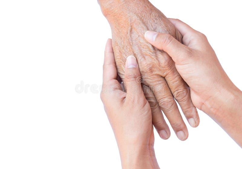 Jonge vrouwenhanden die oude vrouwenhanden op witte achtergrond, F houden stock foto's