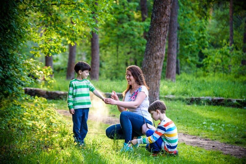 Jonge vrouwenmoeder die insektenwerend middel toepassen op haar zoon twee vóór het bos de stijgings mooie zomer dag of gelijk mak stock fotografie