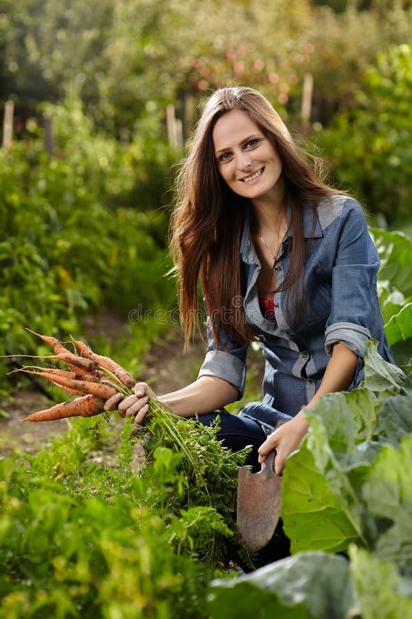 Jonge vrouwentuinman die een schoof van wortelen en een schoffel houden stock afbeelding