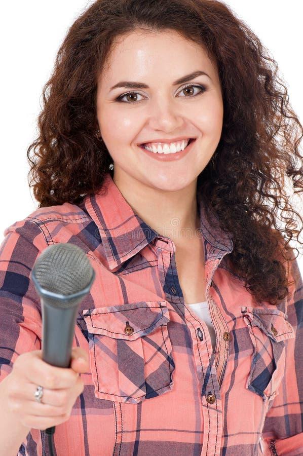 Jonge vrouwenverslaggever stock afbeeldingen