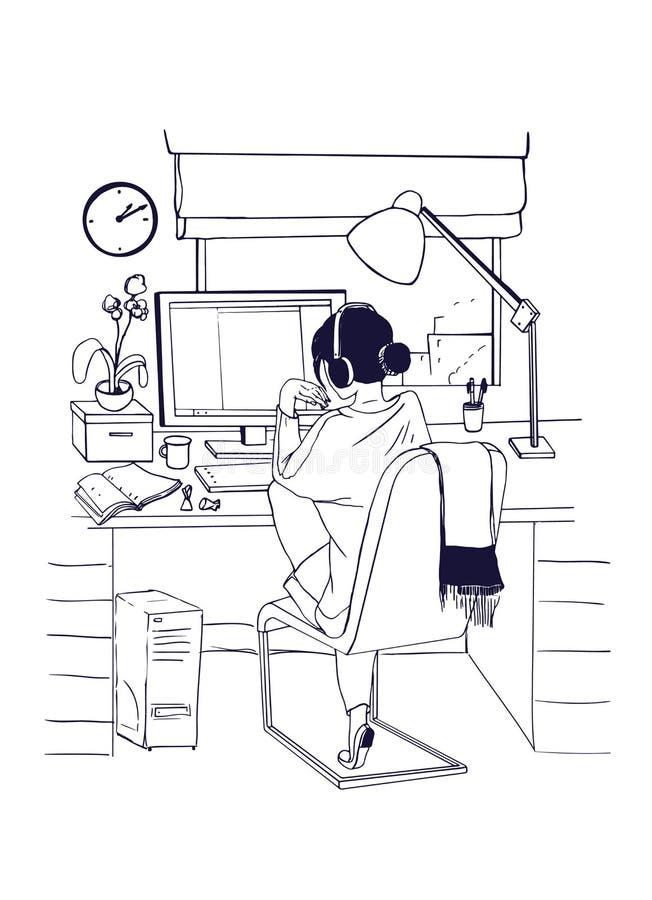 Jonge vrouwenzitting bij computer en het werken, het bestuderen of surfend op Internet Vrouwelijke student die voor onderzoek voo royalty-vrije illustratie