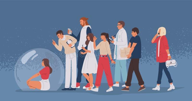 Jonge vrouwenzitting binnen transparante glasbel en menigte van mensen Sociaal concept scheiding van de maatschappij, vector illustratie