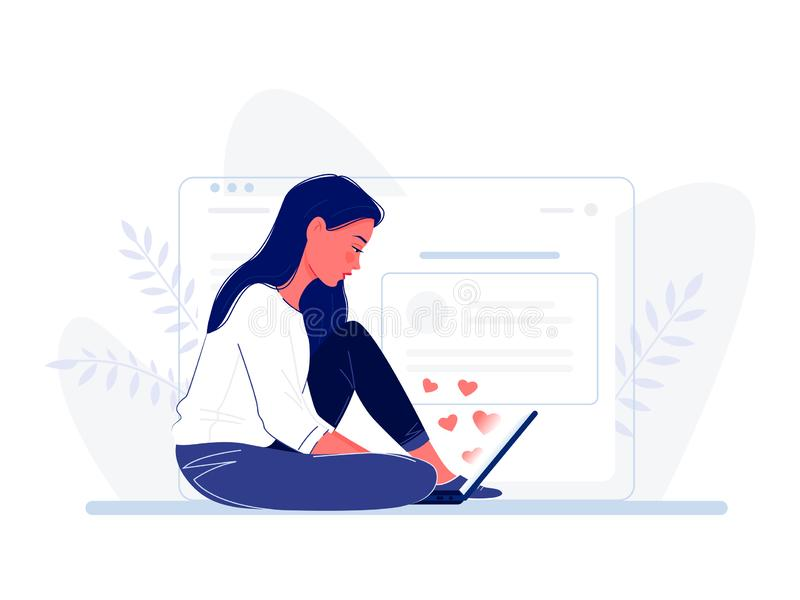 Jonge vrouwenzitting op de vloer met laptop dichtbij het grote computerscherm Hartenvlieg uit het scherm Het surfen van sociaal I stock illustratie