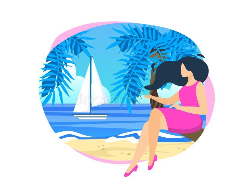 Jonge Vrouwenzitting op Palmboomstam bij Strand vector illustratie