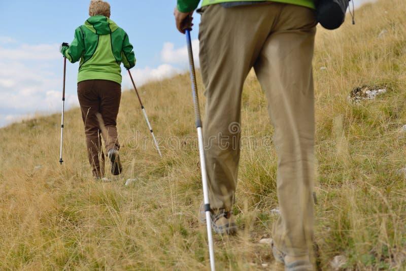 Jonge wandelaars die met trekkingspolen lopen royalty-vrije stock foto