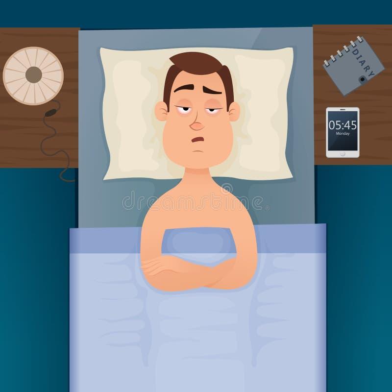 Jonge werknemersmens met slapeloosheid en slapeloos vector illustratie